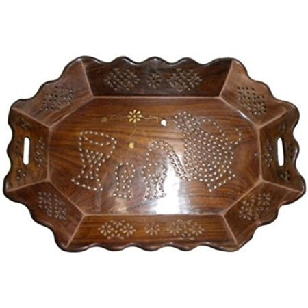 Desi Karigar Tray Serving Fruit Home kitchen Wooden Fancy Decor Wood Gift Basket Trey