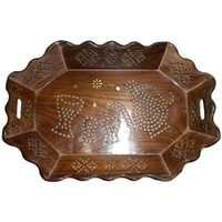 Desi Karigar Tray Serving Fruit Home kitchen Wooden Fancy Decor Wood Gift Basket Trey