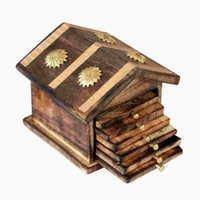Desi Karigar Wooden & Brass Antique Hut Shape Coaster Set Home Decor Gift Item