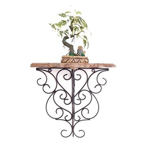 Desi Karigar Wooden & Wrought Iron Big Wall Bracket/Rack Size (LxBxH-13x7x12.5) Inch