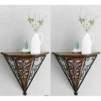 Desi Karigar Beautiful wood & wrought iron New Fancy wall bracket Pack of 2