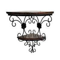 Desi Karigar Wrought Iron & Wooden Fancy Double Bracket Shelf Size (LxBxH-14x9.5x18) Inch