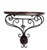 Desi Karigar Wooden & Wrought Iron Wall Bracket ? D-Shape ( Black, 11x6x12 )