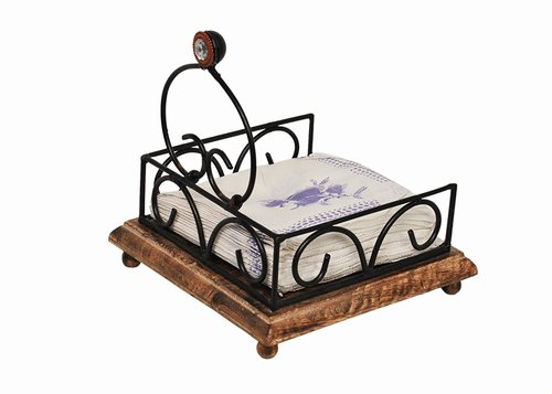 Desi Karigar Wooden & Iron Antique Tissue Holder ( Black, 6.5 x 6.5 x 3 inch )