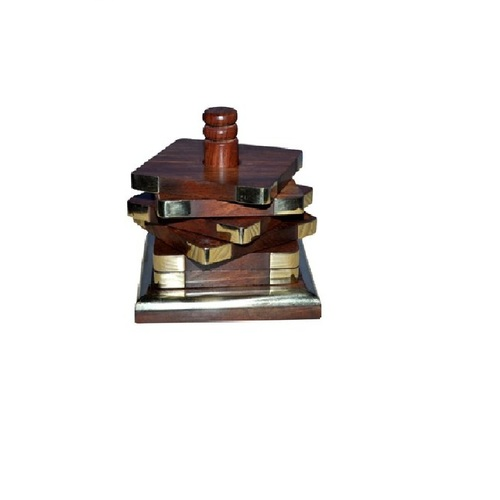 Desi Karigar Wooden Handcrafted Premium Quality Coaster Set (Brown)