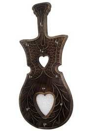 Desi Karigar Antique Guitar Shape Key Holder ( Black )