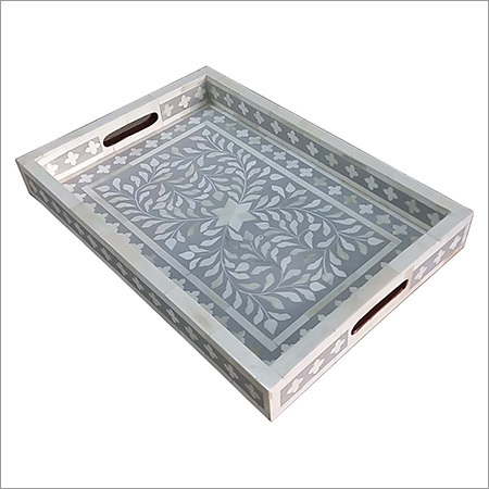 Grey Resin & Leaf Pattern Bone Tray