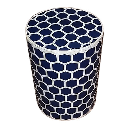 Blue Hexagon Pattern Bone Inlaid Round Stool