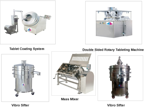Tableting Machine, Vibro Sifter, Mass Mixer