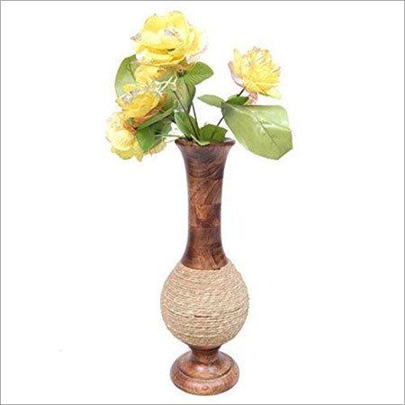 Wooden Antique Hand Carved Flower Vase
