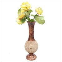 Wooden Antique Hand Carved Flower Vase