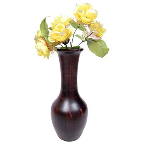 Desi Karigar Beautiful Wooden Antique Hand Carved Flower Vase Size (LxBxH-7x7x17) Inch