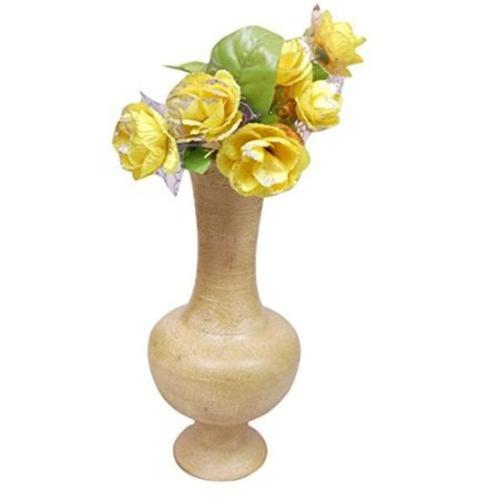 Desi Karigar Beautiful Wooden Antique Hand Carved Flower Vase Size (LxBxH-9x9x17) Inch