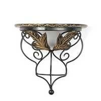 Desi Karigar wood & wrought iron hand carved leaf design wall bracket