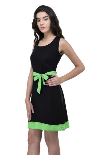 VISCOSE DRESS BLACK WITH GREEN BELT
