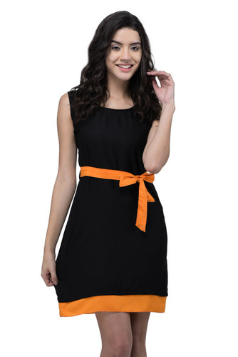 VISCOSE DRESS BLACK WITH ORANGE BELT