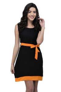 VISCOSE DRESS BLACK WITH ORANGE BELT