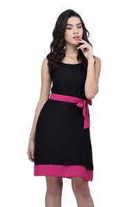 VISCOSE DRESS BLACK WITH PINK BELT