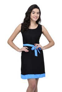 VISCOSE DRESS BLACK WITH SKY-BLUE BELT