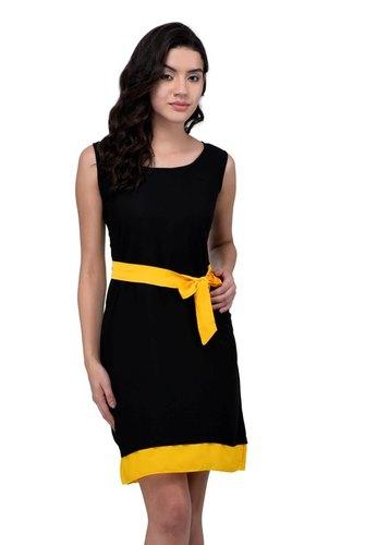 VISCOSE DRESS BLACK WITH YELLOW BELT