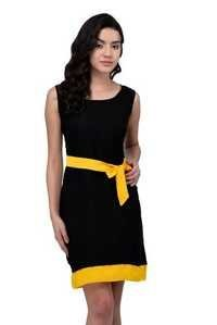 VISCOSE DRESS BLACK WITH YELLOW BELT