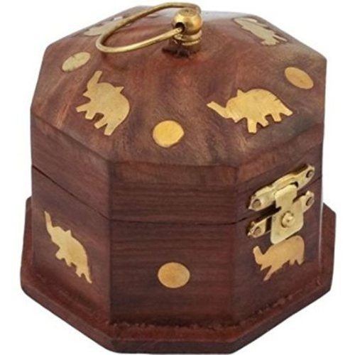 Desi Karigar Wooden Antique Brown Jewellery Vanity Multi Purpose Box with Brass Work