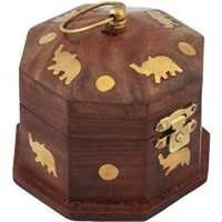 Desi Karigar Wooden Antique Brown Jewellery Vanity Multi Purpose Box with Brass Work
