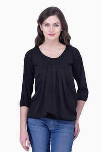 Black Viscose Plain Top