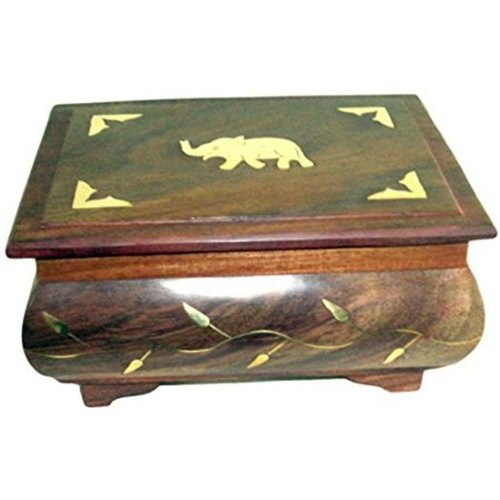 Desi Karigr Wooden Antique Jewellery Box with Brass Carving