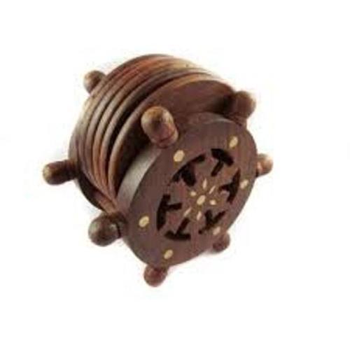 Desi Karigar Wooden Coaster Set Designed In Ship Wheel ( Brown, 4 inch )