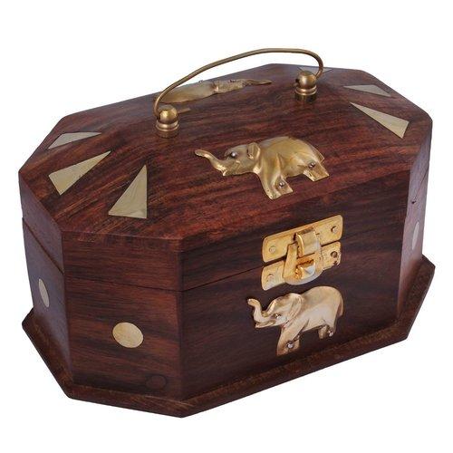 Desi Karigar Wooden Jewellery Box with Embossed Brass Elephant