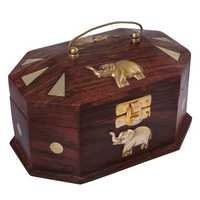 Desi Karigar Wooden Jewellery Box with Embossed Brass Elephant