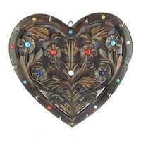 Desi Karigar Wooden Key Holder In Heart Shape With Handicraft Design