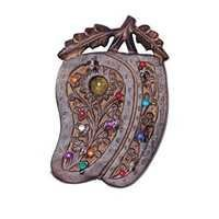 Desi Karigar Wooden Key Holder In Mango Shape With Handicraft Design.