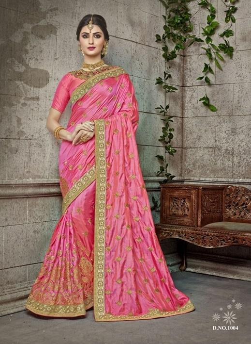 Pink Georgette Wedding Wear Saree