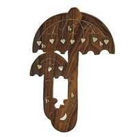 Desi Karigar Wooden Wall Mounted Umbrella Design Key Holder