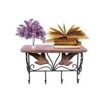 Desi Karigar Wooden & Wrought Iron Wall Bracket | Book Rack | Cloth Hanger