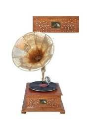 Desi Karigar Wooden Gramophone / Record Player in Rosewood