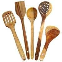 Desi Karigar Handmade Wooden Serving and Cooking Spoon Kitchen Tools Utensil, Set of 5