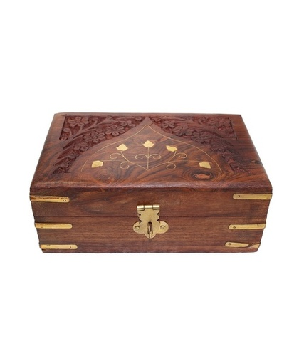 Desi Karigar Brown Wooden Box With Red Cloth Finishing