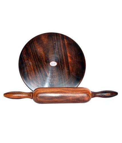 Desi Karigar Brown Wooden Chakla Belan