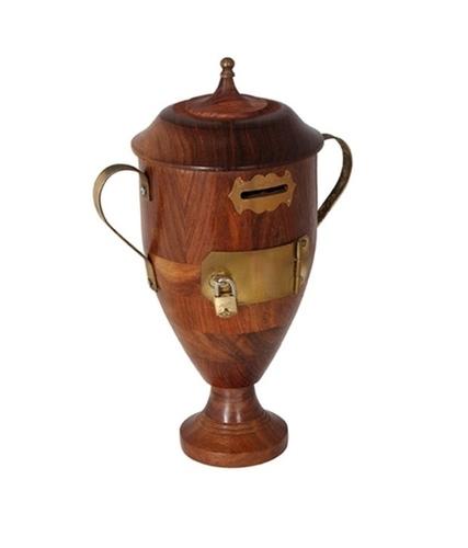 Desi Karigar Trophy Shaped Brown Wood Money Bank Home Decor
