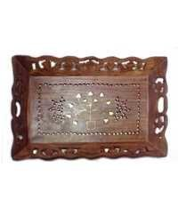 Desi Karigar Brown Tray Carving