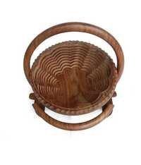 Desi Karigar Brown Others Folding Round Fruit Basket With Spring