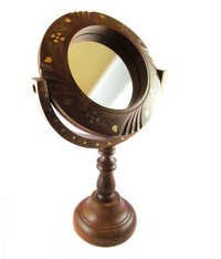 Desi Karigar Unique & beautiful fancy wooden mirror with brass work