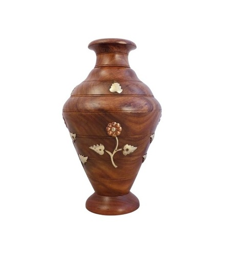 Desi Karigar Wooden Flower Vase with Carving (10 inch)