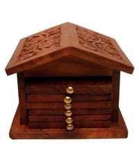 Desi Karigar Brown Wooden Tea Coasters Set of 6