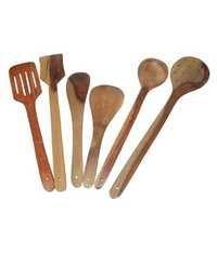 Desi Karigar Wooden Spoon Set of 6 Pcs/Wooden Spatula & Ladle Set