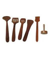 Desi Karigar Brown Wooden Skimmer - 6 Pieces