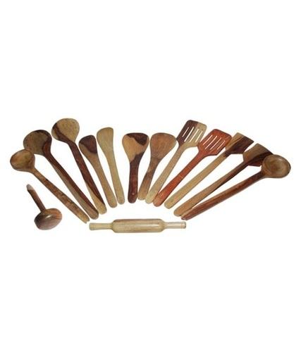 Desi Karigar Wooden Spoon Set of 14 Pcs/Wooden Spatula, Ladle & Kitchen Tool Set